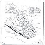 Vinter - Coloring page sledge