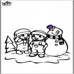 Vinter - Coloring pages Snowman 2