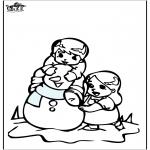 Vinter - Coloring pages Snowman 3