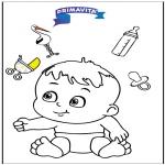 Temaer - Coloringpage baby 3
