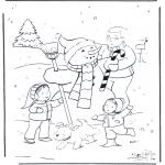 Vinter - Dad with snowman