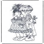 Litt av hvert - Free coloring pages boy and girl