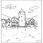 Litt av hvert - Free coloring pages castle