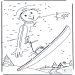 Vinter - Free coloring pages Snowboarding