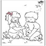 Litt av hvert - Free coloring pages spring 2