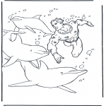 Dyr - Free coloring pictures dolphins