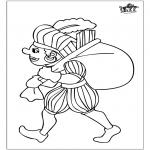 Pricking cards - Piet kleurplaat 3
