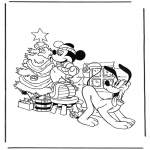 Tegneseriefigurer - Pluto and Mickey with christmastree