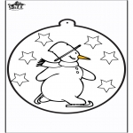 Vinter - Pricking card snowman 1