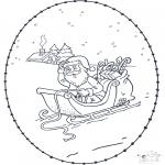 Broderkort - Santa stitchingcard 1