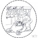 Broderkort - Santa stitchingcard 2
