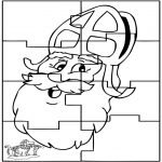Pricking cards - Sinterklaas Puzzel