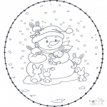 Broderkort - Snowman stitchingcard