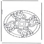 Broderkort - Stitching animalmandala