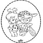 Broderkort - Stitching Flintstones