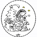 Broderkort - Stitchingcard Girl and Christmastree