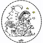 Broderkort - Stitchingcard Girl and Christmastree