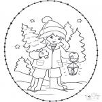 Broderkort - Stitchingcard girl