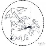 Broderkort - Stitchingcard Pooh