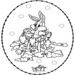 Broderkort - Stitchingcard rabbit