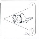 Pricking cards - Vlaggetje Piet