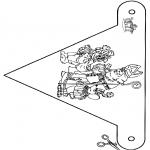 Pricking cards - Vlaggetje Sint 2