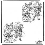 Pricking cards - Zoek 10 verschillen Sint 2